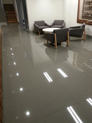 TCS Anti Slip floor coating on High Gloss Granite Foyer